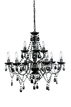The Original Gypsy Color Extra Large 9 Light Black Chandelier H27 W27 Black Metal Frame with Black Acrylic Crystals -- Click image to review more details. (Note:Amazon affiliate link)