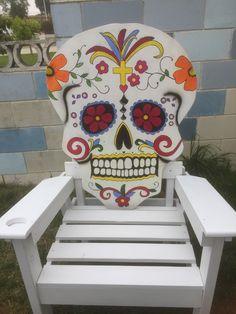 Dia De  los Muertos chair, day of the dead sugar skull chair