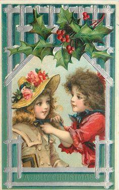 Jolly Christmas~Victorian Brundage Girls~Tie Rose Hat~Silver Emboss Stick Frame