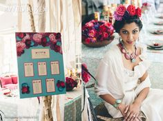 Hand painted Seating chart with paper & silk flower detail - Style File: Frida Kahlo - Kaleidoscope of Love | WedLuxe Magazine