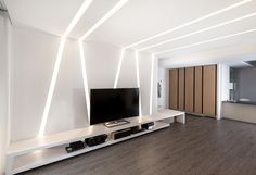 White light element is nice, if it fits into our scheme of things Ceiling Design Living Room, Bedroom False Ceiling Design, Tv Wall Design, Home Ceiling, Living Room Designs, House Design, Led Light Design, Ceiling Light Design, Office Interior Design