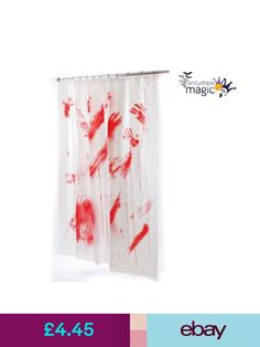 Bloody shower curtain halloween blood stained handprints psycho dead fun world shower curtains liners ebay home furniture diy gumiabroncs Image collections