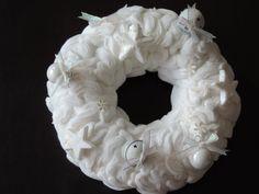 my white felt wreath Felt Wreath, Burlap Wreath, Wreaths, Handmade, Home Decor, Hand Made, Decoration Home, Door Wreaths, Room Decor