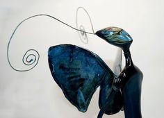 OOAK Night-fly elf art doll  Нandmade doll Art sculpture Dark blue by JuliasArtStore on Etsy