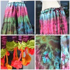Tie-dye hippie wide flare pants  #fashion #hippie #rainbow #naturaleeza