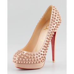 Christian Louboutin Altipump Spikes Platform Red Sole Pump,...