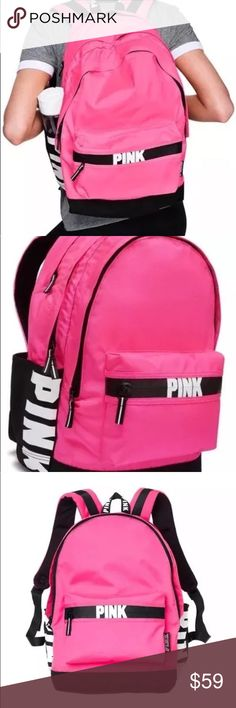 VS PINK Hot Pink Full Size Backpack NWT Product Details   The one and only Campus Backpack! Durable and super cute, it's got plenty of pockets and tons of room to fit all your campus essentials.    Comfy padded straps with mesh overlay for breathability   Zippered laptop sleeve   Exterior zip pocket   Internal mesh pocket   Velcro side pocket   Hot pink color PINK Victoria's Secret Bags Backpacks