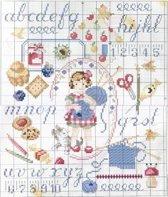 Cute Patterns . . . . like little girl with dog and sewing