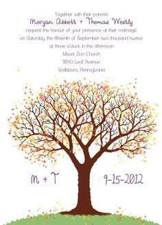 Autumn Tree Wedding Invitations by ksylviacreations on Etsy, $160.00