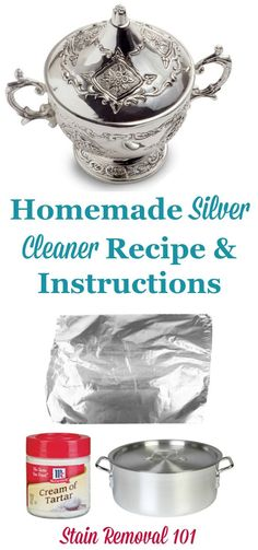Homemade silver cleaner recipe, that uses the power of a homemade magnet to make your own silver dip on Stain Removal 101 Deep Cleaning Tips, House Cleaning Tips, Diy Cleaning Products, Spring Cleaning, Cleaning Hacks, Green Cleaning, Cleaning Solutions, Homemade Silver Cleaner, Cleaners Homemade