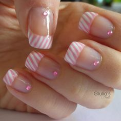 pink and white striped tips french manicure with pink crystals nail design so pretty!