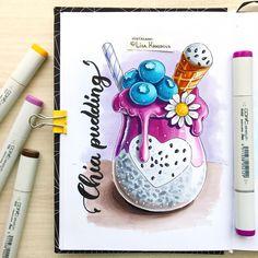 3,688 отметок «Нравится», 18 комментариев — Lisa Krasnova (cha0tica) (@lisa.krasnova) в Instagram: «Chia pudding! Yummy! Thanks @alphafoodie for inspiration. Зачастила я с вредной едой. Пора и честь…» Copic Marker Drawings, Sketch Markers, Sweet Drawings, Colorful Drawings, Pen Illustration, Creation Art, Copic Art, Food Drawing, Art Graphique