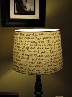 Lampshade with Amazing Grace lyrics. Use a Sharpie to write a poem or lyrics of your choice on a lamp shade...