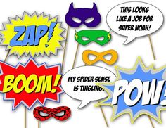 Image of Superhero Photo Booth Props- printable diy birthday party decorations