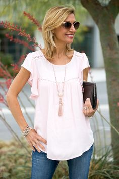 On the blog this week our Rose quartz blouse paired with a beautiful pale pink necklace www.jacketsociety.com