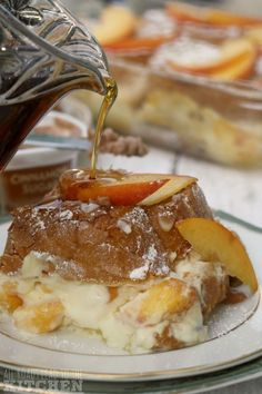 Peaches 'n Cream Stuffed French Toast Breakfast Items, Sweet Breakfast, Breakfast Dishes, Breakfast Club, Breakfast Casserole, Best Breakfast Recipes, Brunch Recipes, Eat A Peach, Pancakes And Waffles