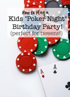 Ever since my husband and brother taught my sons how to play Texas Hold 'Em, they've been wanting to invite their friends over for a Boys Poker Night- so I thought a Boys Poker Night Birthday Party could be a fantastic party theme for a tween! Birthday Party At Home, Birthday Party Games, Boy Birthday, Birthday Ideas, Happy Birthday, Birthday Wishes, Casino Night Party, Casino Theme Parties, Casino Party Games
