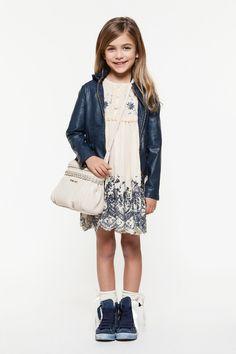 Twin-set Girl Spring Summer 2014, blue leatherette jacket and beige dress