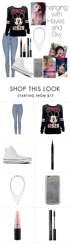 """""""Hanging with Hayes and Sky"""" by hypegirl101 ❤ liked on Polyvore featuring Topshop, Disney, Converse, Givenchy, Banana Republic, Agent 18 and MAC Cosmetics"""