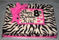 Zebra sheet cake, Pink bow & border in ZEBRA (& other animal print) by