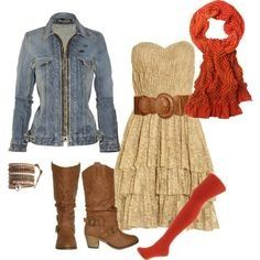 Tan lace strapless dress; tan wide belt; light denim jacket; pumpkin colored scarf; knee length pumpkin stockings; light brown cowboy styled boots-fall outfit-cute