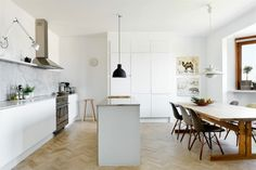 Scandinavian Kitchen, Tolomeo Wall Lamp, Unfold Lamp, Eames Plastic Chair DSW, PH 5 Lamp