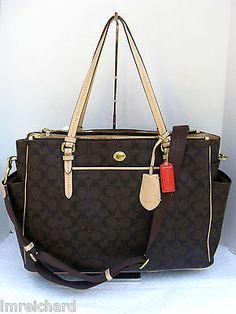NWT COACH 26181 Peyton Signature Brown Baby Diaper Multifunction Tote Bag. Love this