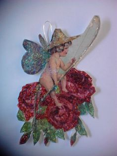 Vintage Valentine Ornament Postcard Fishing Fairy by APaperWitch