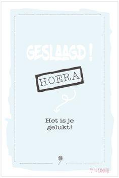 Postkaart Geslaagd! blauw