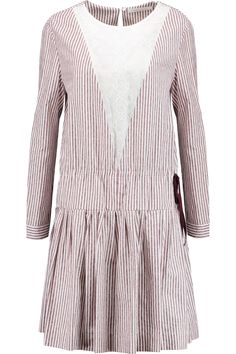 SEE BY CHLOÉ Striped cotton-poplin and cotton-voile dress. #seebychloé #cloth #dress