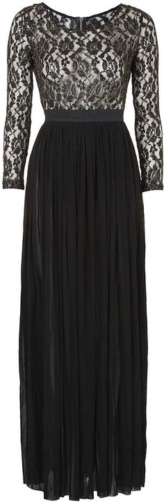 Womens black metallic lace top maxi dress by rare from Topshop - £58 at ClothingByColour.com