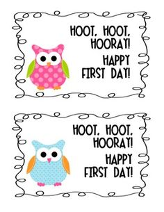 Owl Happy First Day of School Postcard. Attach a pencil or sweet treat and place on your new students' desks for a happy way to start the first day!