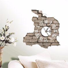 Стикеры 3D настенные часы Переводные картинки нарушение трещин стены Стикеры дома Декор стены подарок ПВХ Пластик электронный механизм Лидер продаж купить на AliExpress