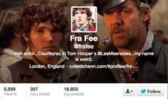 Let's take a moment to appreciate Fra Fee's twitter bio hahaha he cracks me up