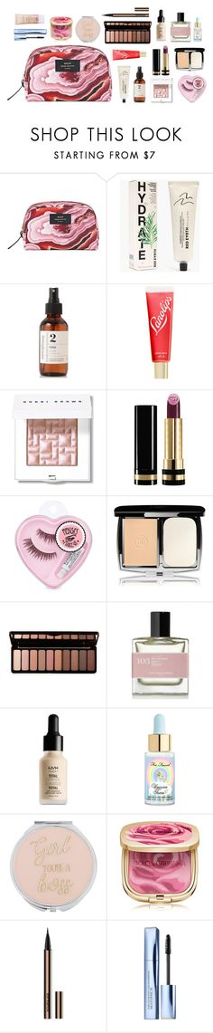 """What's in my makeup bag #11"" by xoxomuty ❤ liked on Polyvore featuring beauty, Wouf, Madewell, Savor Beauty, Lano, Bobbi Brown Cosmetics, Gucci, Lumière, Forever 21 and NYX"
