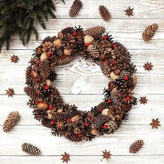 Christmas wreath Holiday Wreath Winter Wreath Door by LeraLem Decoration Christmas, Holiday Decor, New Year Diy, Decoration Shabby, Pine Cone Decorations, Pine Cone Crafts, Holiday Wreaths, Christmas Projects, Diy And Crafts
