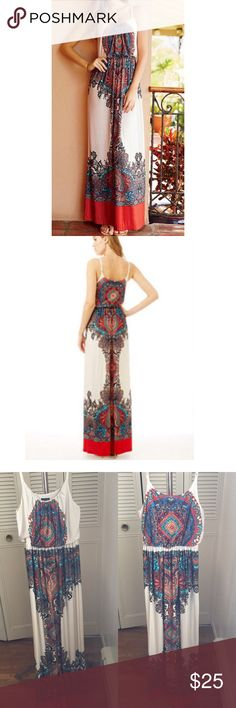 Multi-colored Printed maxi dress Printed maxi dress from Alloy with adjustable spaghetti straps ALLOY Dresses Maxi
