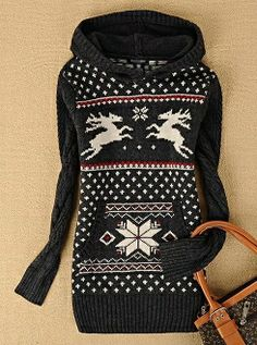 Designer Clothes, Shoes & Bags for Women Hooded Sweater, Sweater Shirt, Grey Sweater, Christmas Party Outfits, Christmas Time, Winter Wear, Daily Fashion, Winter Fashion, Deer