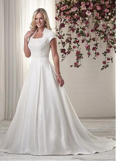 Modest Satin Queen Anne Neckline A-line Wedding Dresses with Beaded Lace Appliques