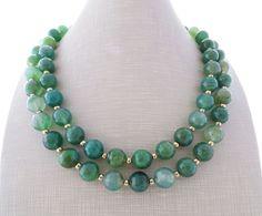 Collana con pietre dure, collana lunga con agata verde smeraldo, gioielli   eBay