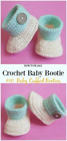 Crochet Baby Cuffed Booties Free Pattern - Baby #Booties; Free #Crochet; Patterns