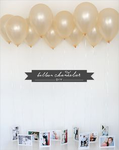 Make your party photos pop by creating a balloon chandelier. | 27 Unique Photo Display Ideas That Will Bring Your Memories To Life