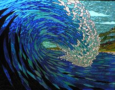 Wave stained glass panel by Graham Mace Glass Art