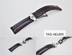 Tag Heuer Custom Handmade Watch Strap - Calfskin & Red Stitching - More colors and sizes on order by ChristianStraps on Etsy Tag Heuer, Stitching, Watches, Luxury, Trending Outfits, Unique Jewelry, Colors, Handmade Gifts, Red
