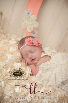 Coral Mini Shabby Chic Flowers Headband by LauraLeeDesigns108 Newborn Photo Prop - pinned by pin4etsy.com