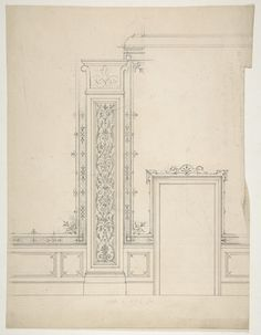Jules-Edmond-Charles Lachaise | Elevation of a room with designs for the decoration of walls and wainscot | The Metropolitan Museum of Art