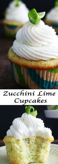 The perfect Summer cupcake-Super soft zucchini cardamom cupcakes with lime cream cheese frosting
