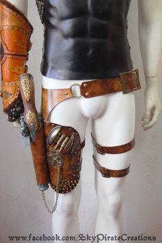 Steampunk Wasteland Belt with gun Holster