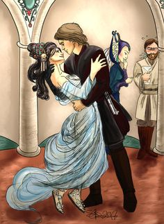 """The Jedi and the Senator - Dancing"" This must have happened sometime during the Clone Wars, at some official party with the Galaxy jet set. And I'm all about embarassed Obi Wan and Satine snickering behind."