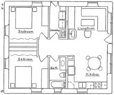 Small Two Bedroom House Plans   Earthbag Cottage 2   Earthbag House Plans